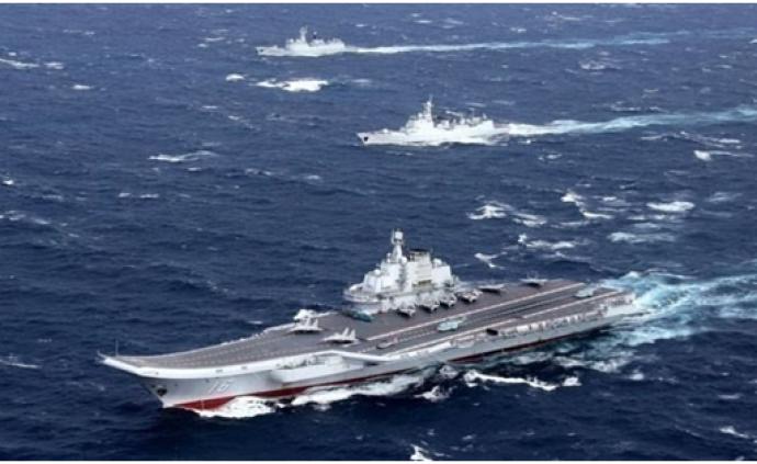 遼寧艦航母編隊25日穿越臺灣海峽,準備北返青島港