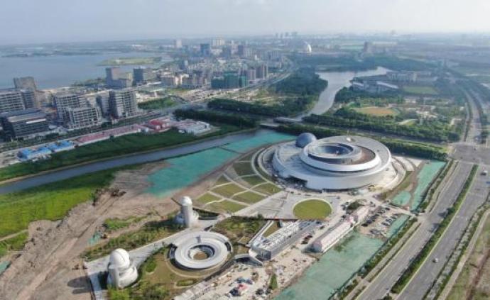 航拍 上海自贸区临港新片区重要地标