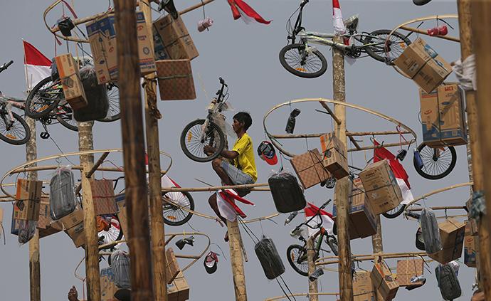 早安·世界|爬抹?#36879;?#23376;取奖品,印尼民间庆祝独立日