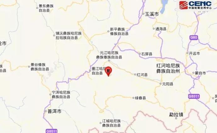 云南玉溪市元江縣發生3.9級地震,震源深度8千米