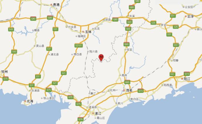 廣西玉林北流市發生5.2級地震,震源深度10千米