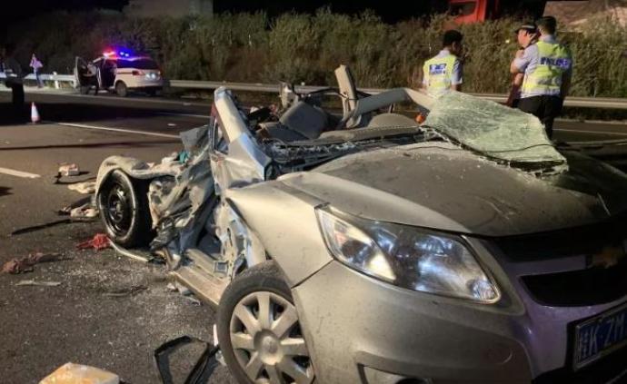 泉南高速柳州段半掛車追尾小車,致3名成人2名幼童遇難