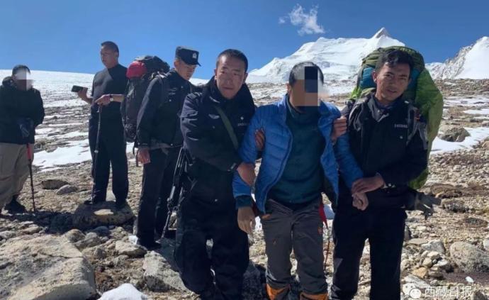 西藏警方在希夏邦马峰海拔5980米处成功营救3名被困游客