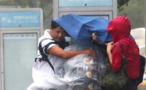 """28日17时50分前后,台风""""杜鹃""""在台湾宜兰沿海登陆,台北市街头,强风致等公车的乘客吹得站不稳,抱著站牌。东方IC 图"""