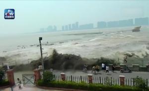 视频 20多名游客钱塘江观潮违规跨过安全区,被回头潮冲倒