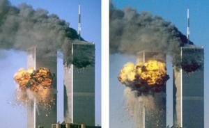 当地时间2001年9月11日,美国纽约,曼哈顿世贸双子塔被袭击的过程。 视觉中国 资料图