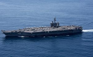 """日驱逐舰与""""卡尔·文森""""号航母训练,针对朝核展示美日团结"""