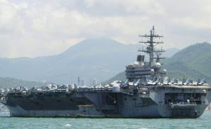 """美国""""里根""""号航母结束修整,离开日本横须贺港进行海试"""