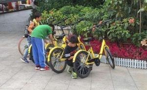 男孩用砖砸共享单车,身旁父母称闹着玩