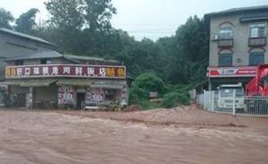 """四川雅安强降雨导致山体滑坡,道路积水严重""""开车像开船"""""""